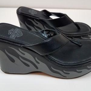 Harley davidson womens 6 wedge sandal flame heel